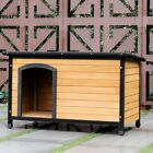 Wooden Pet House Dog Cat Puppy Shelter Kennel Weather Resistan Home Outdoor US