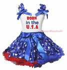 4th July Born In the USA White Top Blue Patriotic Star Girl Skirt Outfit 1-8Year
