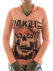 Yakuza Skull Longsleeve Hooded 12121 papaya punch NEU Frauen - Damen Shirt