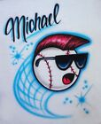 Baseball in Cool Sunglasses Airbrush Shirt - Name Included