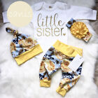 US Flower Newborn Baby Girl Little Sister Tops Romper Pants Hat Outfits Clothes