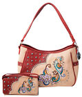 Peacock Purse Colorful Embroidery Western Concealed Carry Handbag and Wallet Set