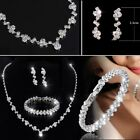 Bridesmaid Crystal Necklace Earrings Bracelet Set Wedding Bridal Jewellery Uk