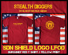 Stealth Diggers SDN Shield Burgundy Red metal detecting relic hunting T shirt