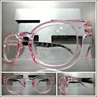 Women's Classic Retro Style READING EYE GLASSES READERS Transparent Pink Frame