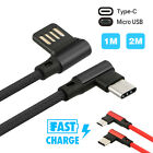 Braided 90 Degree Right Angle L Type C/Micro USB Fast Data Sync Charger Cable