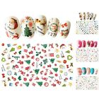 Nail Decal Colorful Christmas Pattern 3D Nail Art Stickers Nail Accessory 1PC