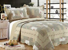 ALL FOR YOU Reversible Bedspread, Coverlet,Quilt  *55* Beige Gray Green prints image