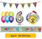 Happy 6th Birthday - AGE 6 - Party Balloons Banners Badges & Decorations Helium