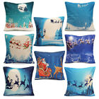 Christmas X'mas Linen Cover Throw Pillow Case Cushion Cover Home Car Sofa Decor image