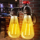 Vintage Retro Industrial Iron Water Pipe Shape Wall Lamp Sconce Lighting Fixture