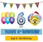 Happy 6th Birthday AGE 6 Party Balloons Banners Badges & Decorations Helium BOY
