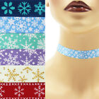 Snowflakes Choker 5/8 inch Custom Necklace 16 mm - 17 mm winter white turquoise