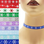 Snowflakes Choker 3/8 inch Custom Necklace 9 mm - 10 mm winter white red green +