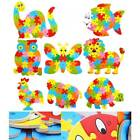 Alphabet 26 Letters 3D Wooden Puzzles Toys Kids Animal lion elephant Cock Crab