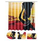 Waterproof African Girl Non-Slip Bathroom Shower Curtain Toilet Cover Rug Mat US