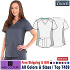 Med Couture Scrub TOUCH Women's Medical V-Neck Shirttail Top 7459