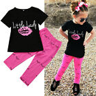 2Pcs Toddler Kids Baby Girls Summer Outfits T shirt Top +Long Pants Clothes Set