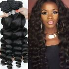 3/4Bundle100% Virgin Human Hair Extension Unprocessed Loose Wave Brazilian Weave