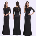 Ever-Pretty US Black Long Bridesmaid Dresses Lace Half Sleeve Evening Gown 09882