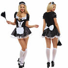Women French Maid Fancy Dress Costume Outfit Hen Party Naught Feather Duster LOT