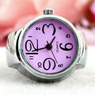 Creative Fashion Steel Tone Round Elastic Quartz Finger Ring Watch Jewelry Gifts