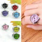 Creative Fashion Steel Tone Round Elastic Quartz Finger Ring Watch Jewelry Gifts image