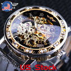Luxury New Black Golden Retro Transparent Mechanical Skeleton Wrist Watch Men US