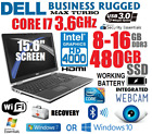 DELL 15.6  LED CORE i7 TURBO 3.6GHz LAPTOP w/8-16GB+NEW 480GB SSD+HDMI+NOTEBOOK+