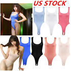 Внешний вид - US Womens One Piece Hi-cut Thong Leotard Bodysuit Crotchless Monokini Swim Tops