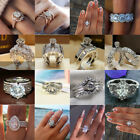 Noble Beauty 925 Silver Women Wedding Rings White Sapphire Jewelry Size 6-10