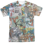 Rocky & Bullwinkle Collage Mens Sublimation Shirt White