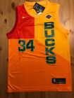 34 Giannis Antetokounmpo City Edition Orange Mens Jersey Milwaukee Bucks