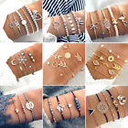 Bohemian Geometric Stone Bracelet Set for Women Vintage Rope Taseel Sequin Moon  image