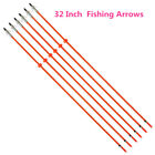 "32""BowFishing Arrows Red Fiberglass Shaft 8mm w/ Fish Hunting Broadheads"
