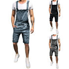 Sommer Herren Bib Denim Kurze Overall Jeans Strampler Workout Button Jumpsuit