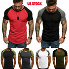 Men's GYM T-Shirt Fitness Bodybuilding Muscle Male Short Sleeve Top Slim Fit Tee image