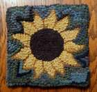 SUNFLOWER Primitive Rug Hooking KIT WITH 8 CUT WOOL STRIPS
