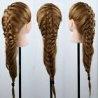 US 100% Real Human Hair Hairdressing Training Head Cosmetology Mannequin Salon
