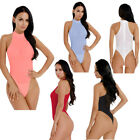 Women Sleeveless Mock Neck High Cut Zipper Back Leotard Open Crotch Bodysuit