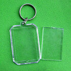Charm Acrylic Insert Photo Picture Frame Keyrings Keychain Split Ring Key Chains