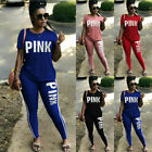 Womens Yoga Tracksuit Sets Letter Print 2 Piece Sports Outfits Short Sleeve 3XL