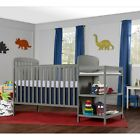 Full Size Crib Changer 2 In 1 Baby Toddler Kid Bed Nursery Changing Table Gray