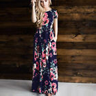 Womens Summer Boho Floral Long Maxi Dress Cocktail Party Evening Beach Sundress