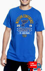 St. Louis Blues Royal 2019 NHL Western Conference Champs Men's T- Shirt Made USA $12.99 USD on eBay