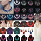 Women Fashion Bib Choker Chunk Crystal Statement Necklace Wedding Jewelry Set