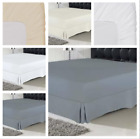 220 TC Cotton Satin Fitted Sheets Bed Spread Breathable Wrinkle Free Soft Silky image