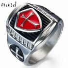 MENDEL Mens Shield Cross Knights Templar Ring Silver Stainless Steel Size 8-15