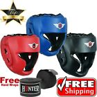 Leather Headgear Face Guard Protector Boxing Helmet MMA Black Head Guard US