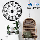 60/80cm Large Outdoor Garden Roman Numerals Giant Open Face Metal Wall Clock